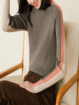 Rosaline blouse L / apricot coffee Contrast striped turtleneck sweater knitted