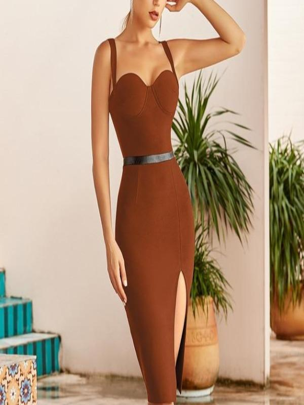 Rosaline Brown Bandage Dress / L Bandage dresses with a sexy belt