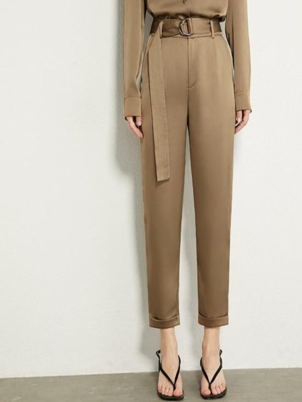 Rosaline dark green pant / M Satin suit consisting of a LO top and high waist pants