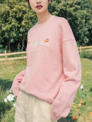 Rosaline Pink / S Loose 3d embroidered spring sweater
