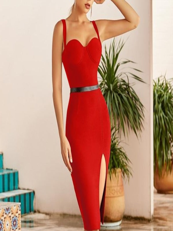 Rosaline Red Bandage Dress / L Bandage dresses with a sexy belt