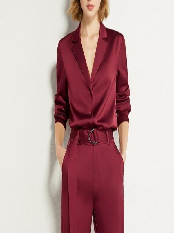 Rosaline red shirt / XL Satin suit consisting of a LO top and high waist pants