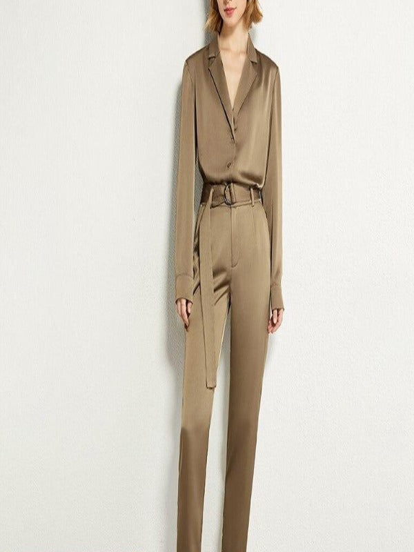 Rosaline Satin suit consisting of a LO top and high waist pants