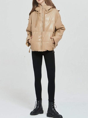 Rosaline Thick warm PU leather coat