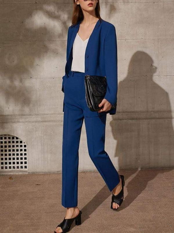 Rosaline V-neck formal blazer one-breasted suit with belt and pants