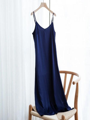 Rose&Lin Dress dark blue / 4XL Dress Summer Satin  Soft