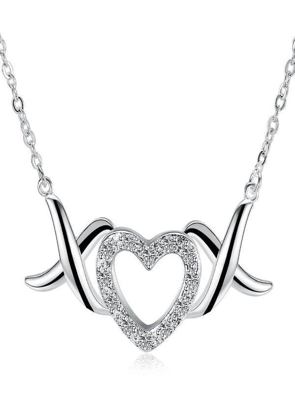 Silver Milo Jewelry & Watches XOX Heart Necklace in 18K White Gold Plated