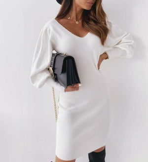 Silver Sam Dresses L / white wool dress with open back embroidered with lace