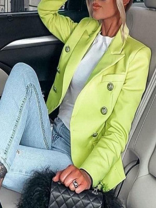 Silver Sam Jackets & Coats L / Green Metallic buttons blazer