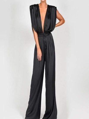 Silver Sam Jumpsuits & Rompers Deep V Neck Sleeveless Sexy Jumpsuit Luxury Silk Satin Solid Flare