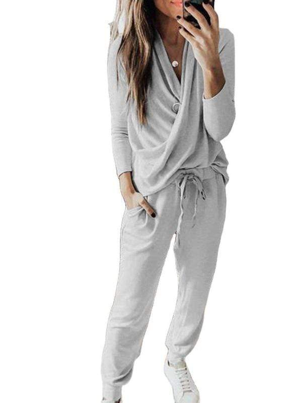 Silver Sam Matching Sets Casual Solid 2 Piece Set Women Long Sleeve Pullover Sweatshirt  Waist