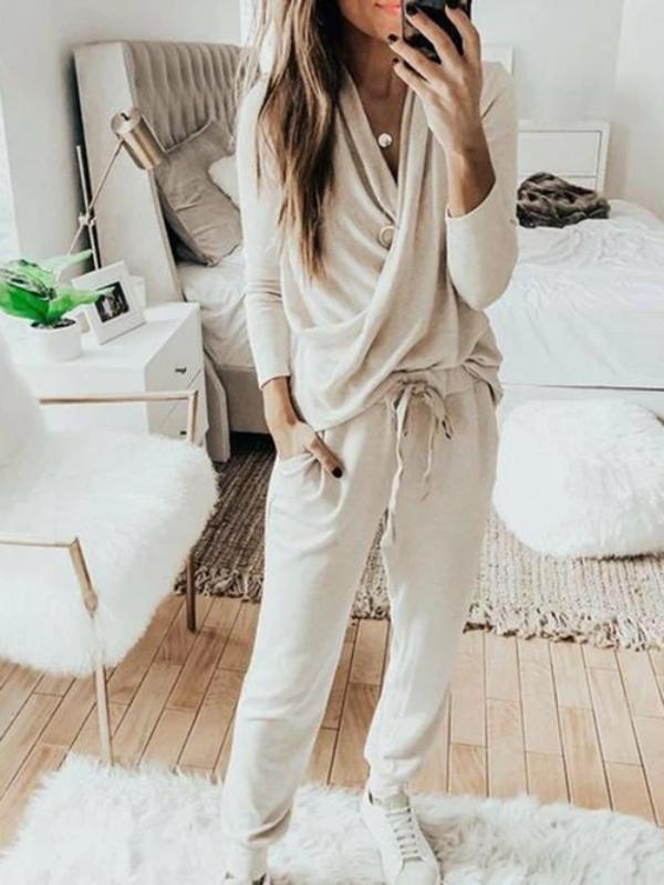 Silver Sam Matching Sets L / apricot Casual Solid 2 Piece Set Women Long Sleeve Pullover Sweatshirt  Waist