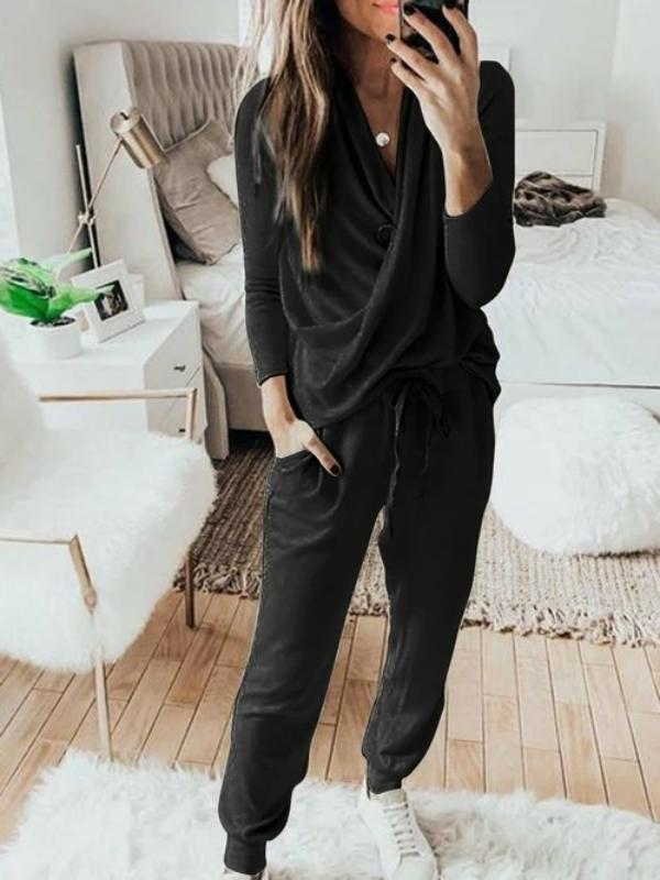 Casual Solid 2 Piece Set Women Long Sleeve Pullover Sweatshirt  Waist - Rosaline
