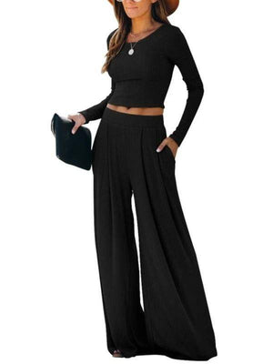Silver Sam Matching Sets L / black Solid Color Long Sleeve Crop Tops Blouse and Wide-leg Pants Two-piece