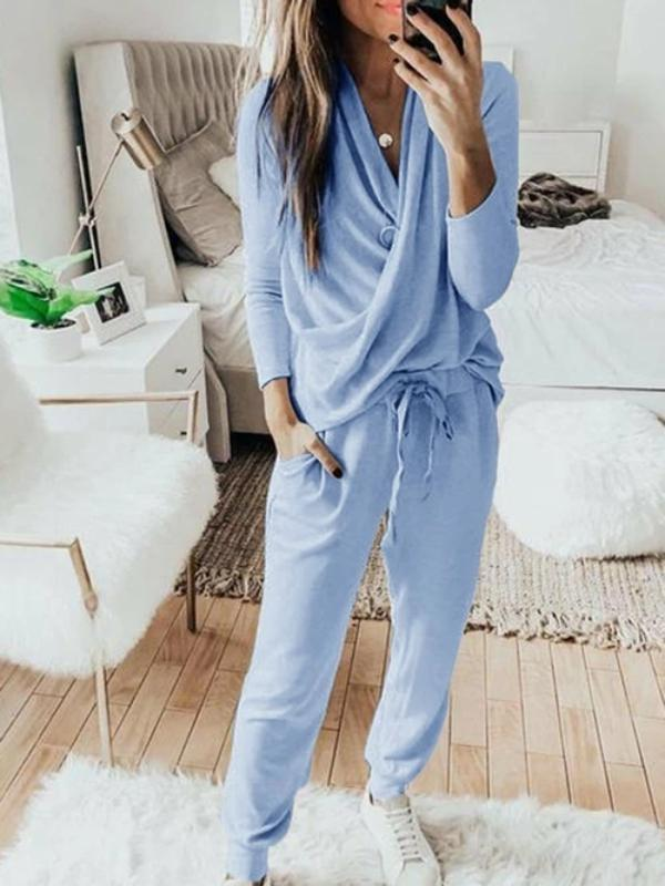 Silver Sam Matching Sets L / blue Casual Solid 2 Piece Set Women Long Sleeve Pullover Sweatshirt  Waist