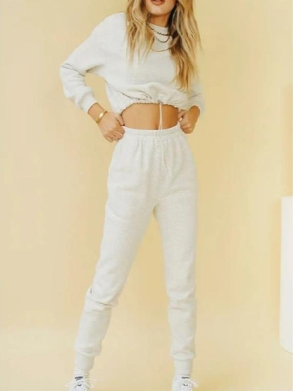 Silver Sam Matching Sets L / gray long sleeve crop top and long pants two-piece set
