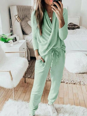 Silver Sam Matching Sets L / green Casual Solid 2 Piece Set Women Long Sleeve Pullover Sweatshirt  Waist