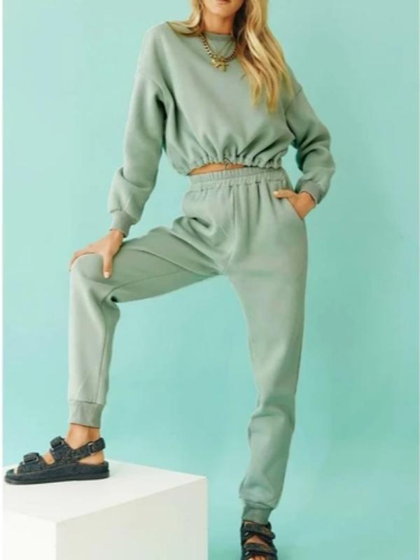 Silver Sam Matching Sets L / green long sleeve crop top and long pants two-piece set