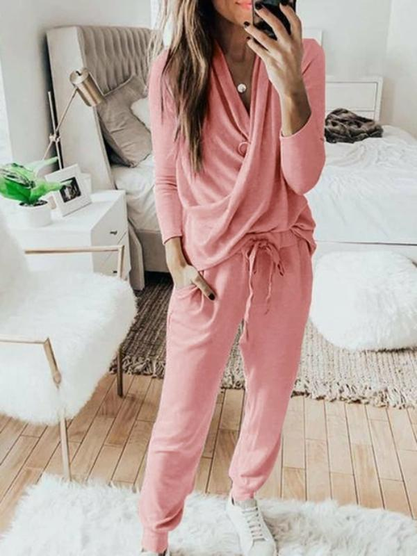 Silver Sam Matching Sets L / pink Casual Solid 2 Piece Set Women Long Sleeve Pullover Sweatshirt  Waist