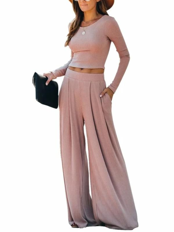 Silver Sam Matching Sets L / pink Solid Color Long Sleeve Crop Tops Blouse and Wide-leg Pants Two-piece