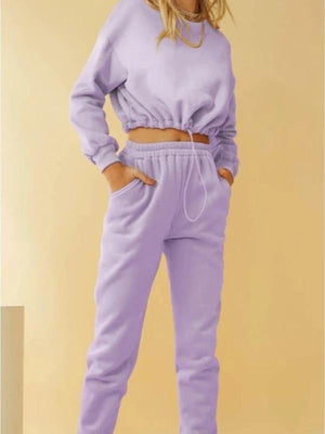 Silver Sam Matching Sets L / purple long sleeve crop top and long pants two-piece set