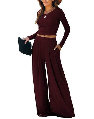 Silver Sam Matching Sets L / red Solid Color Long Sleeve Crop Tops Blouse and Wide-leg Pants Two-piece