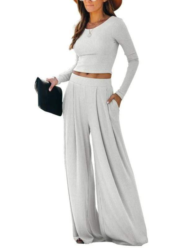 Silver Sam Matching Sets L / white Solid Color Long Sleeve Crop Tops Blouse and Wide-leg Pants Two-piece