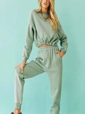 Silver Sam Matching Sets long sleeve crop top and long pants two-piece set