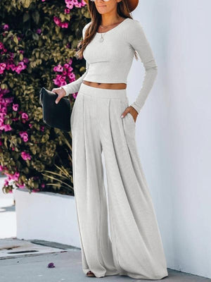Silver Sam Matching Sets Solid Color Long Sleeve Crop Tops Blouse and Wide-leg Pants Two-piece