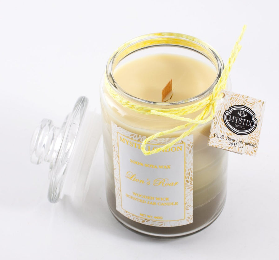 Mystix London Lion's Roar Wooden Wick Scented Jar Candle - Mystic Moments UK