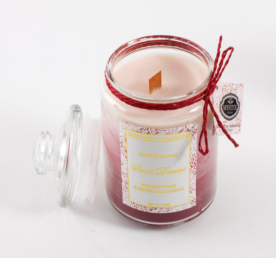 Mystix London Sweet Dreams Wooden Wick Scented Jar Candle - Mystic Moments UK