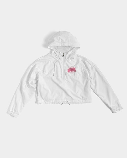 Breast Cancer Awareness Women's Cropped Windbreaker - therealretro.com