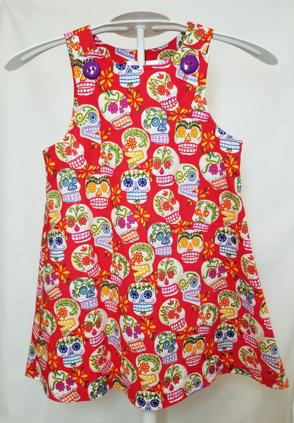 red dress with sugar skulls