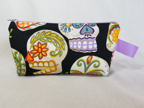 sugar skull zippered bag