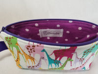 Colorful Giraffe zippered bag