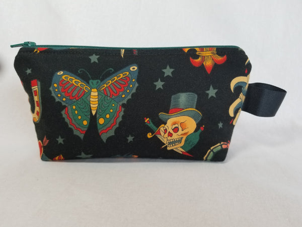 Tattoo print zippered bag