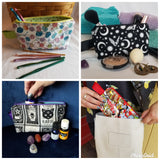 Photos of zippered bags being used