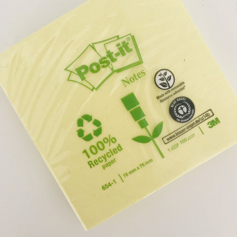 Bloco Post-It reciclado 76x76 mm ... Recycled Post-It