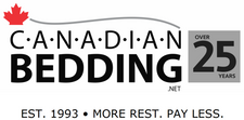 Canadian Bedding - Over 25 Years Logo - EST. 1993 - More Rest. Pay Less.