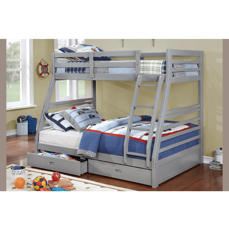 4 Colours - 2 Drawers Bonus - Dakota Twin over Double Wood Bunk Bed