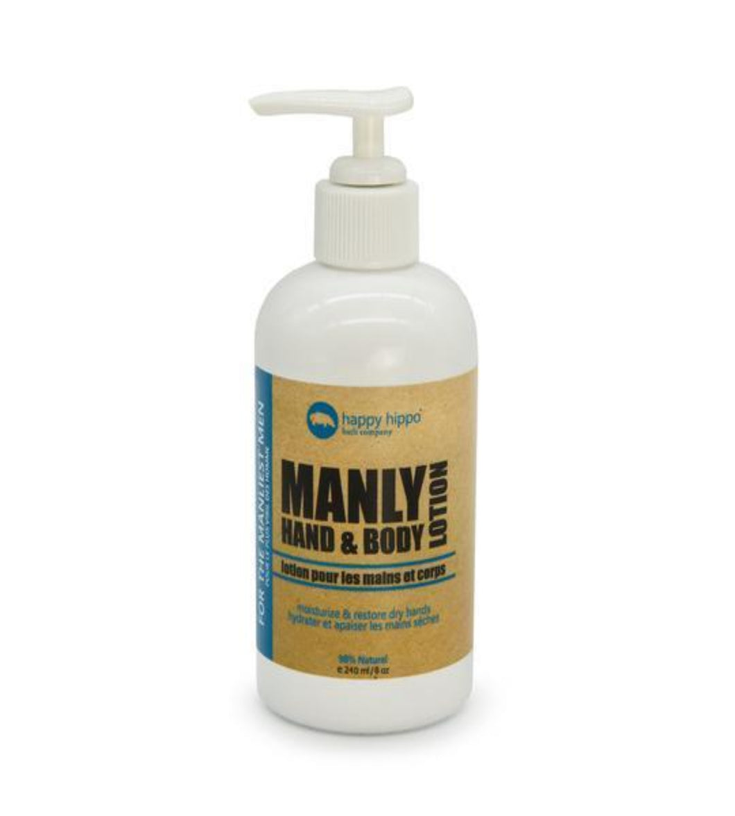 MANLY Hand and Body Lotion - Happy Hippo Bath Co.