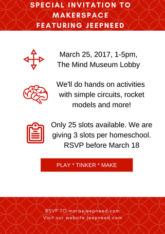 We will be at The Mind Museum this March 25. Schools and Home Schools are welcome to join!