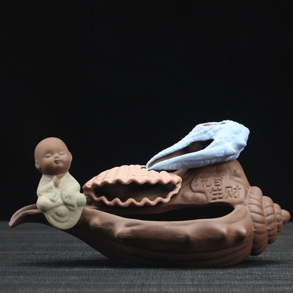 The Little Monk on Shell Backflow Incense Cones Burner