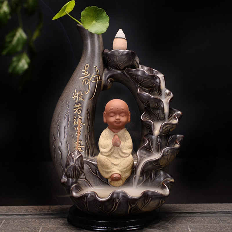 Decorative Little Monk Waterfall Backflow Incense Burner