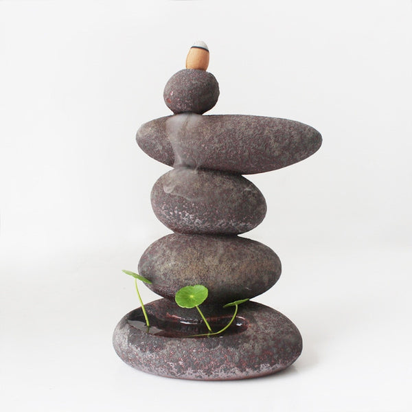 Beach Stones Waterfall Backflow Incense Burner Media 1 of 5