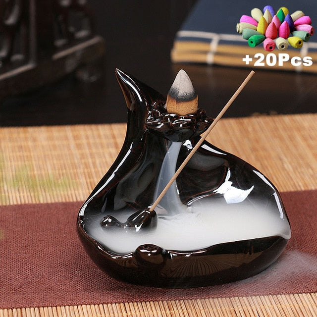 Versatile Backflow Incense Burners with Incense Stick Holder