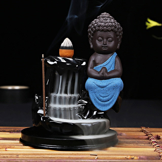 Little Monk Small Buddha Backflow Ceramic Incense Burner