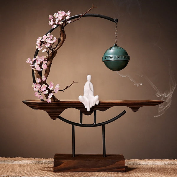 Antique Wooden Tree Incense Burner