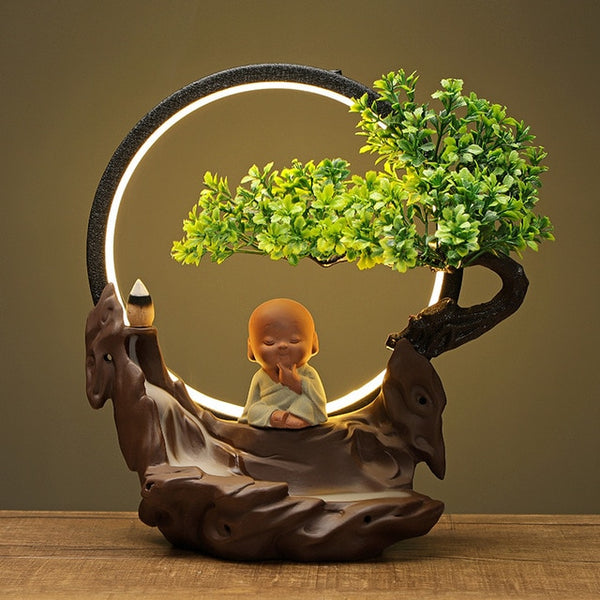 Antique Buddha and Tree Incense Burner with LED Light