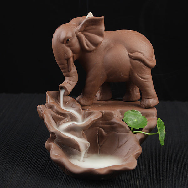 Clay Elephant Backflow Incense Burner